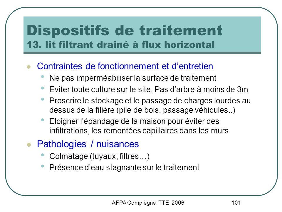 Dispositifs de traitement 13. lit filtrant drainé à flux horizontal