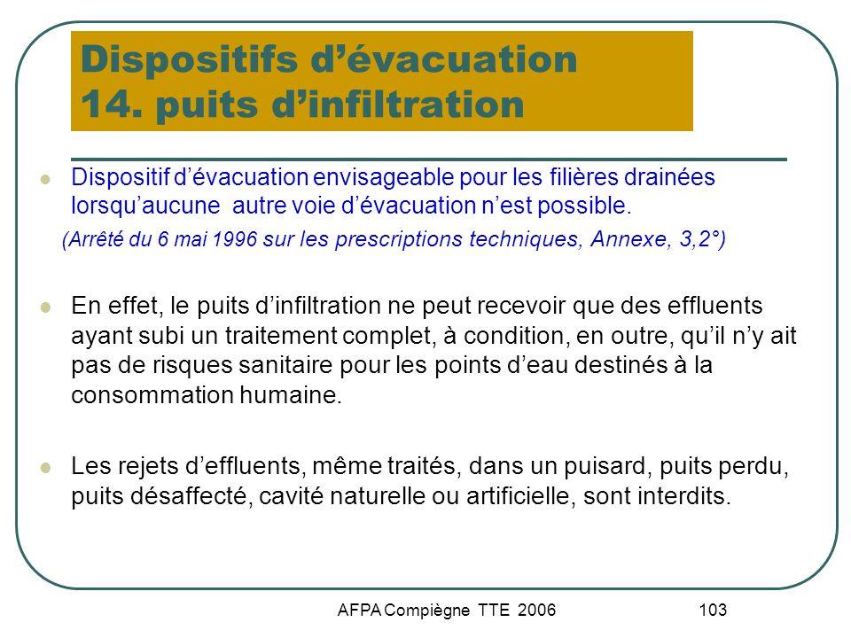 Dispositifs d'évacuation 14. puits d'infiltration