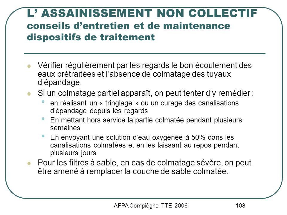 L' ASSAINISSEMENT NON COLLECTIF conseils d'entretien et de maintenance dispositifs de traitement