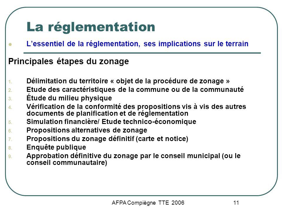 La réglementation Principales étapes du zonage