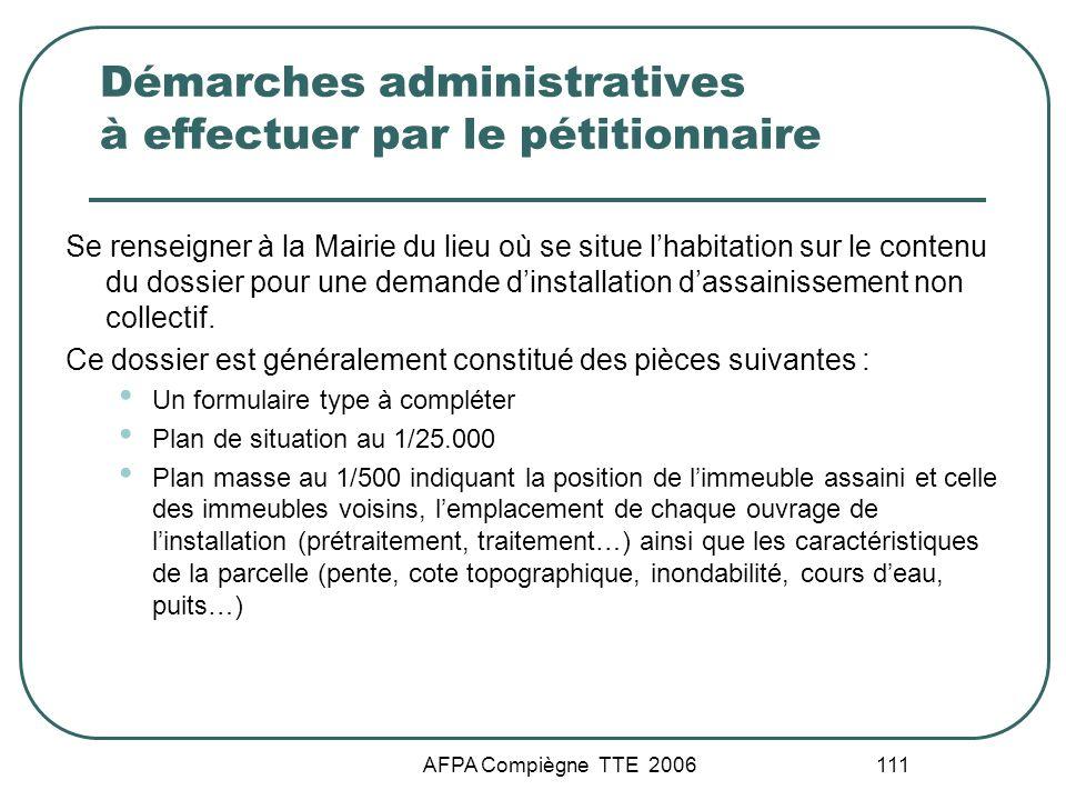 Démarches administratives à effectuer par le pétitionnaire
