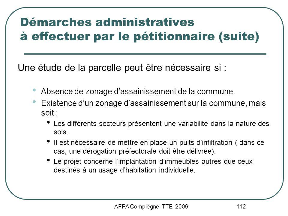 Démarches administratives à effectuer par le pétitionnaire (suite)