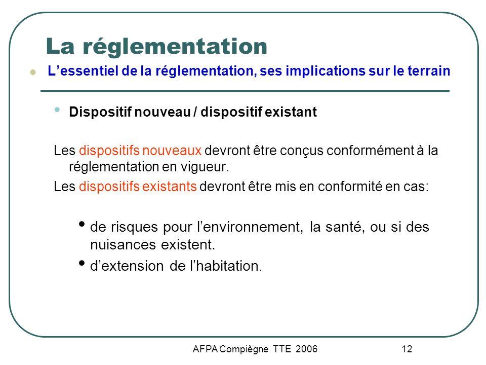 La réglementation L'essentiel de la réglementation, ses implications sur le terrain. Dispositif nouveau / dispositif existant.