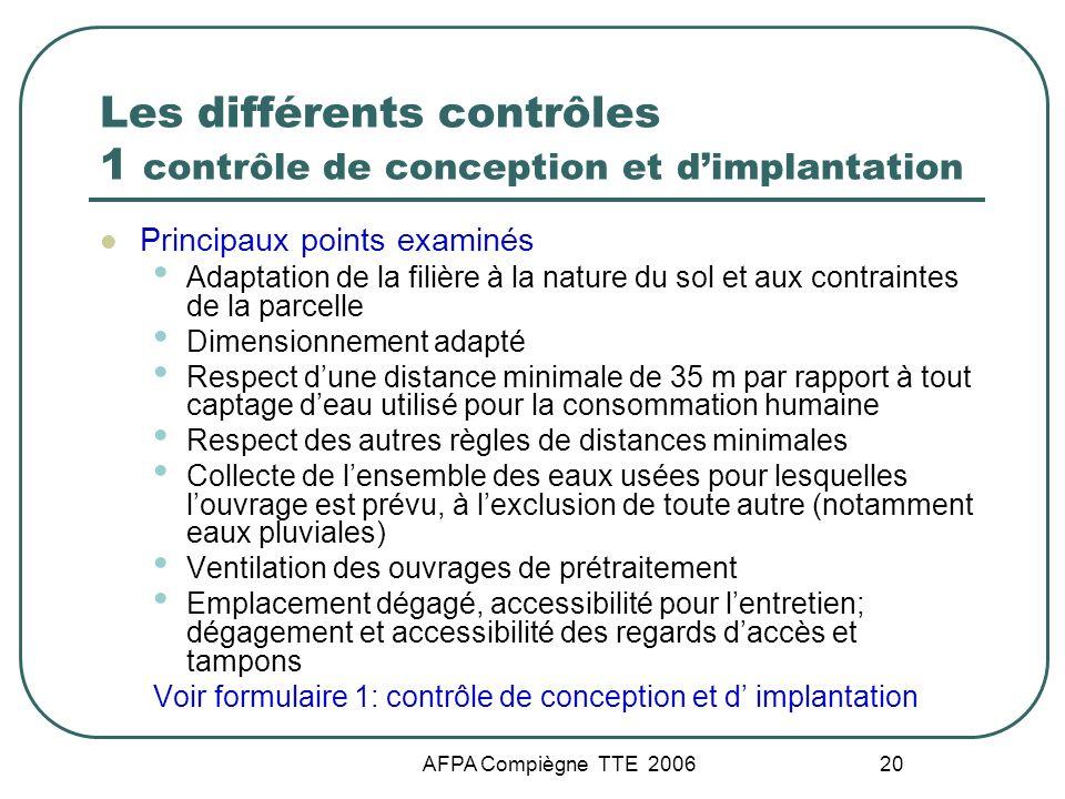 Les différents contrôles 1 contrôle de conception et d'implantation