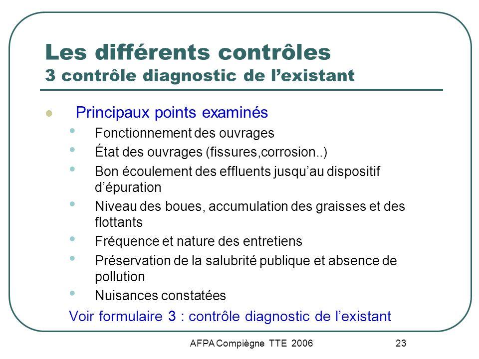 Les différents contrôles 3 contrôle diagnostic de l'existant