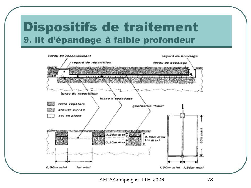 Dispositifs de traitement 9. lit d'épandage à faible profondeur