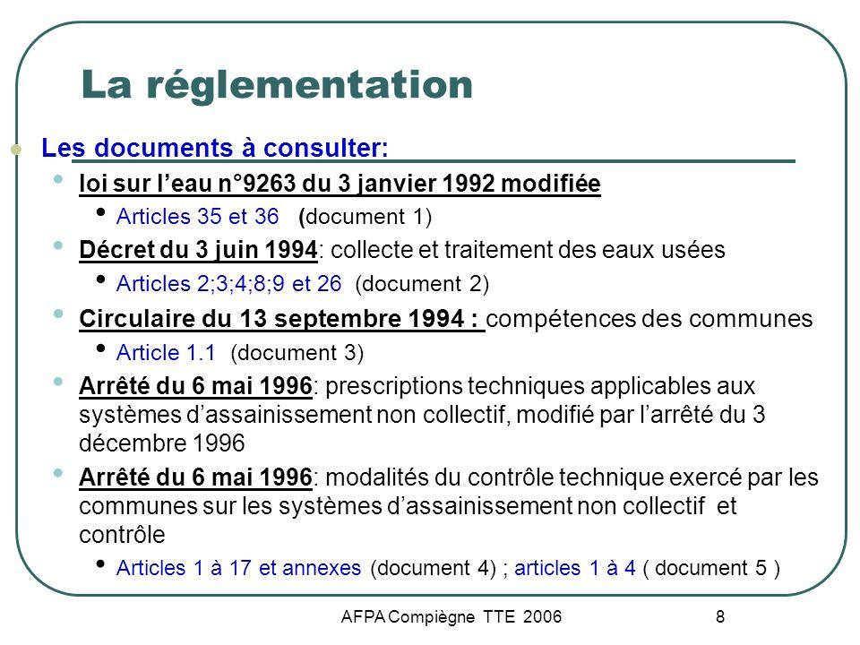 La réglementation Les documents à consulter: