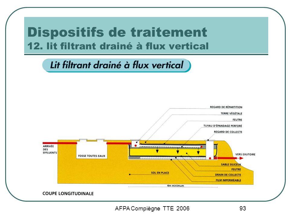 Dispositifs de traitement 12. lit filtrant drainé à flux vertical