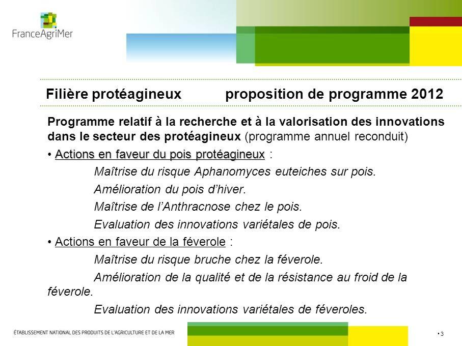 Filière protéagineux proposition de programme 2012