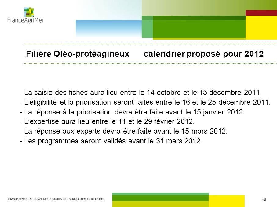Filière Oléo-protéagineux calendrier proposé pour 2012
