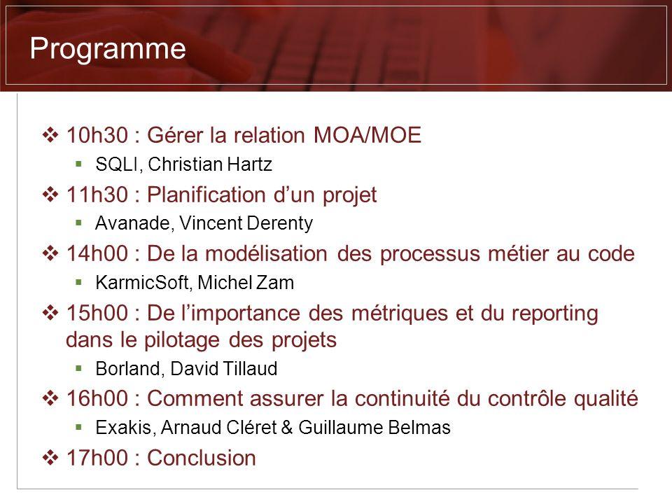 Programme 10h30 : Gérer la relation MOA/MOE