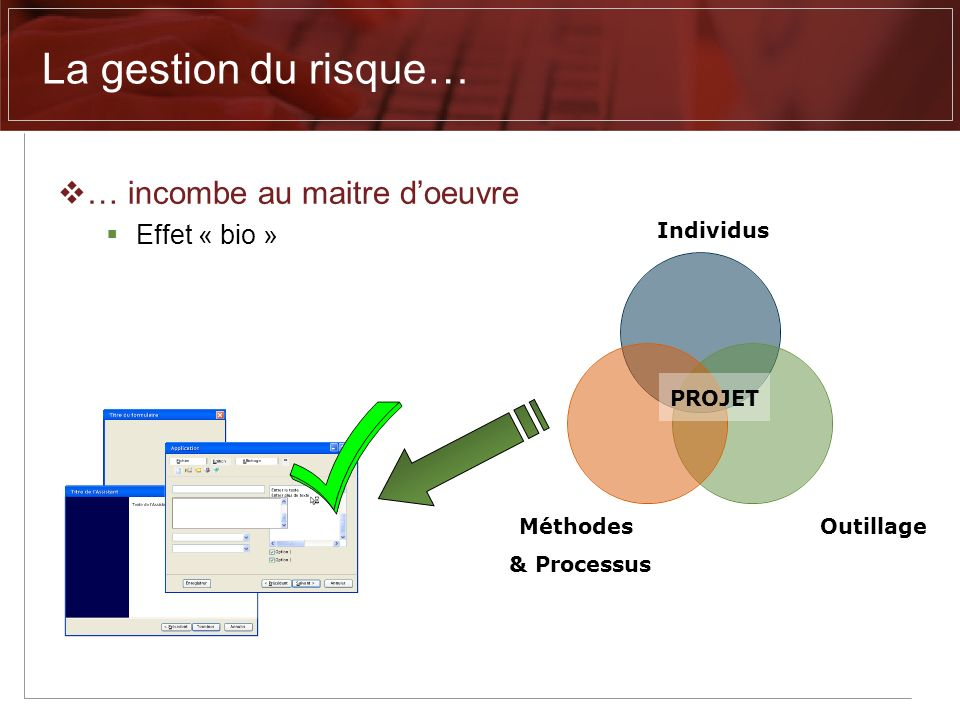 La gestion du risque… … incombe au maitre d'oeuvre Effet « bio »