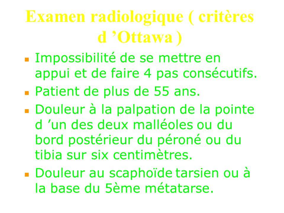 Examen radiologique ( critères d 'Ottawa )