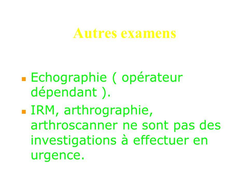 Autres examens Echographie ( opérateur dépendant ).
