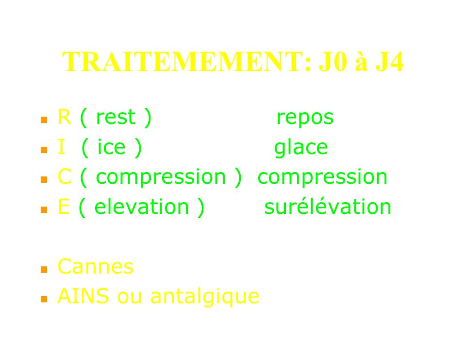TRAITEMEMENT: J0 à J4 R ( rest ) repos I ( ice ) glace