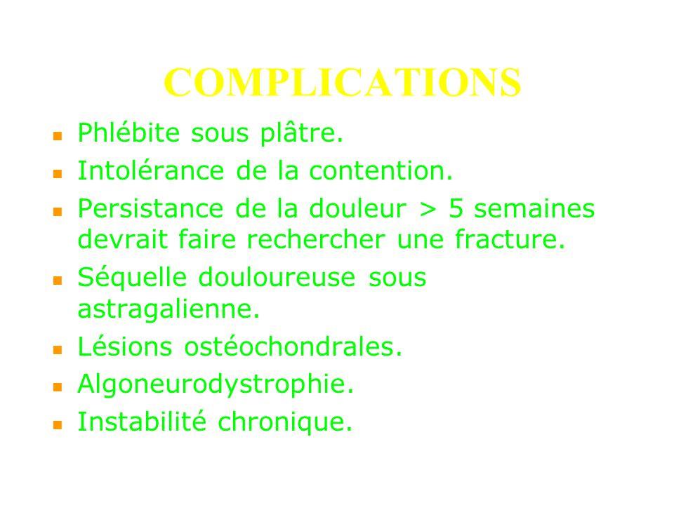 COMPLICATIONS Phlébite sous plâtre. Intolérance de la contention.