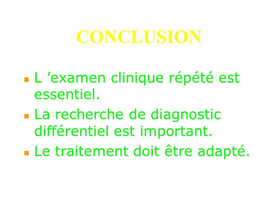 CONCLUSION L 'examen clinique répété est essentiel.