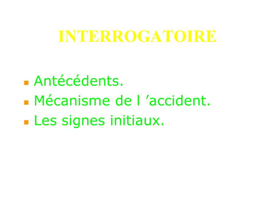 INTERROGATOIRE Antécédents. Mécanisme de l 'accident.