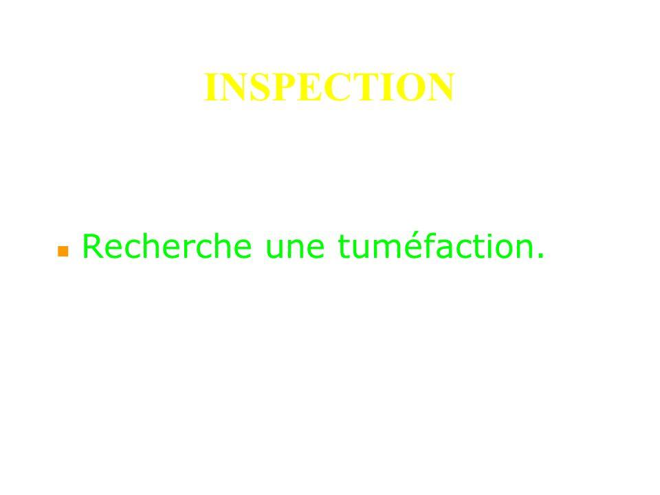INSPECTION Recherche une tuméfaction.