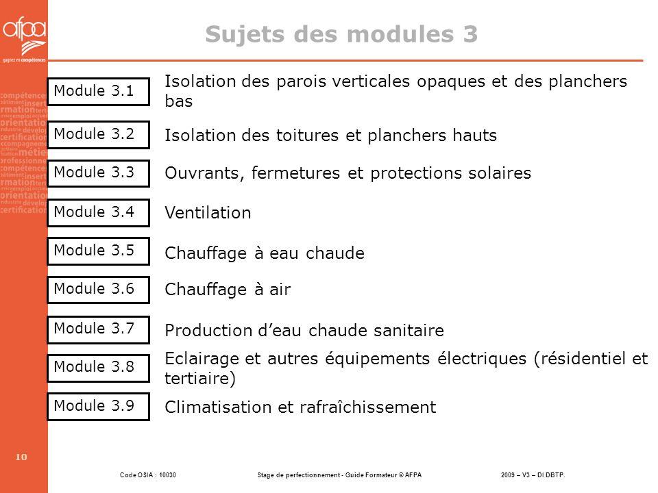 Sujets des modules 3 Isolation des parois verticales opaques et des planchers bas. Module 3.1. Module 3.2.