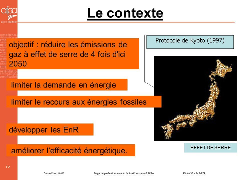 Le contexte Protocole de Kyoto (1997) objectif : réduire les émissions de gaz à effet de serre de 4 fois d ici 2050.