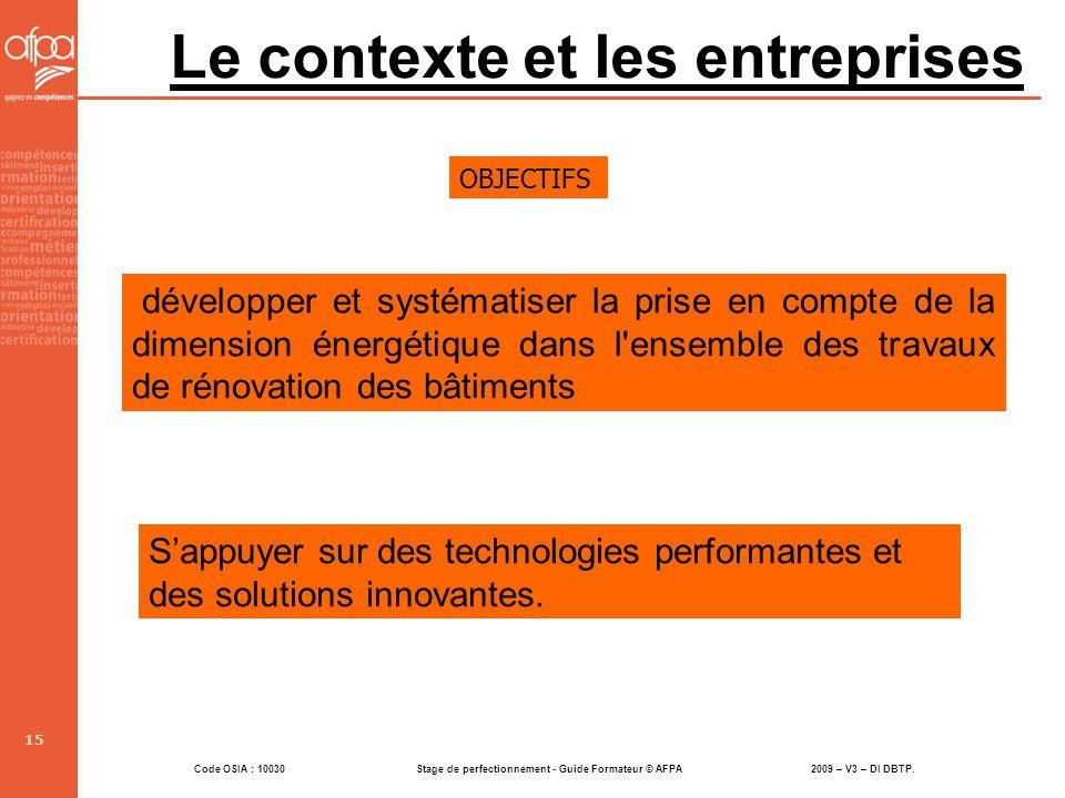 Le contexte et les entreprises