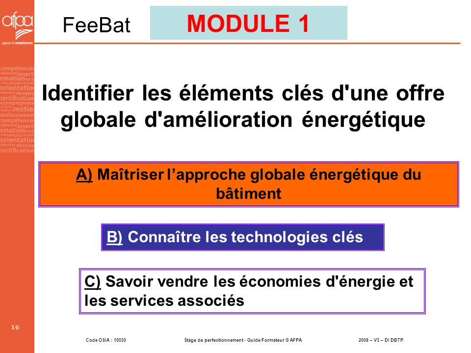 A) Maîtriser l'approche globale énergétique du bâtiment