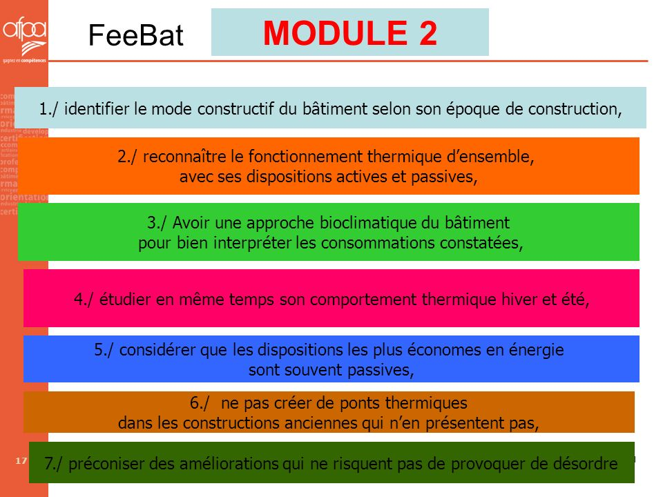 MODULE 2 FeeBat. 1./ identifier le mode constructif du bâtiment selon son époque de construction,