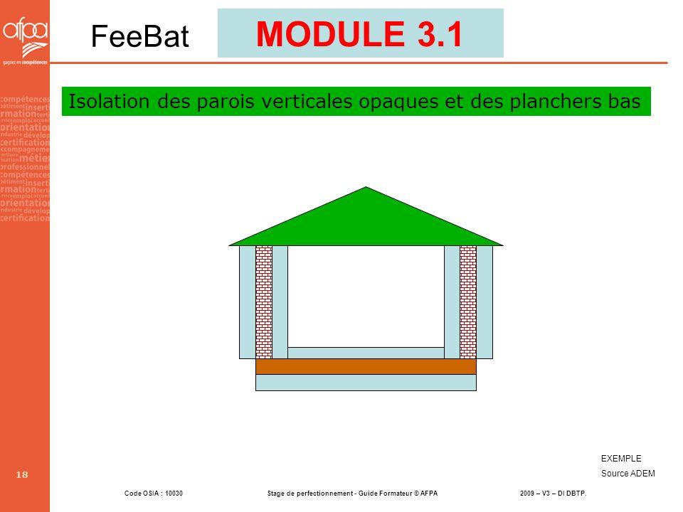 MODULE 3.1 FeeBat Isolation des parois verticales opaques et des planchers bas EXEMPLE Source ADEM
