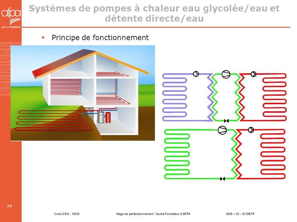 Systèmes de pompes à chaleur eau glycolée/eau et détente directe/eau