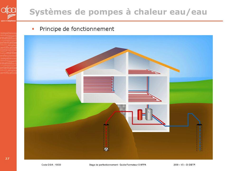 Systèmes de pompes à chaleur eau/eau
