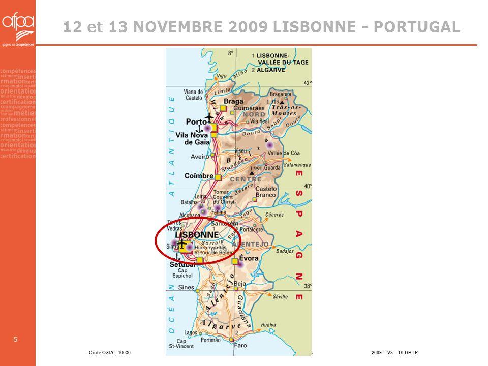 12 et 13 NOVEMBRE 2009 LISBONNE - PORTUGAL