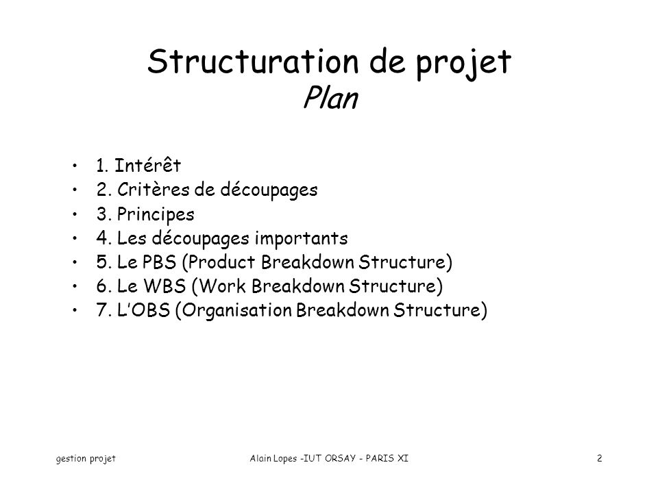 Structuration de projet Plan