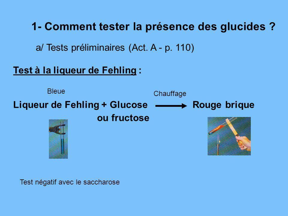 1- Comment tester la présence des glucides