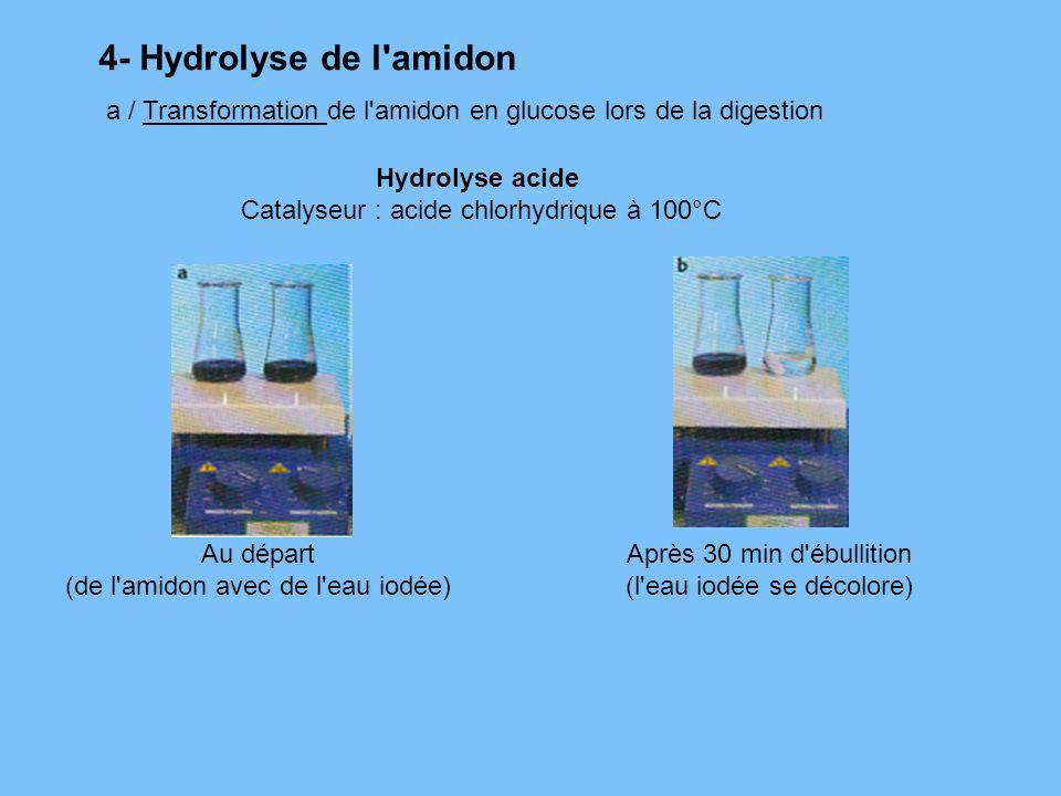 4- Hydrolyse de l amidona / Transformation de l amidon en glucose lors de la digestion. Hydrolyse acide.
