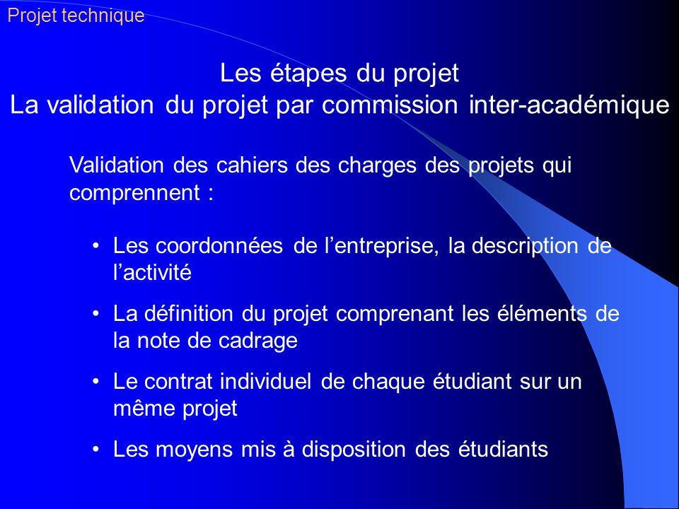 Projet technique Les étapes du projet La validation du projet par commission inter-académique.
