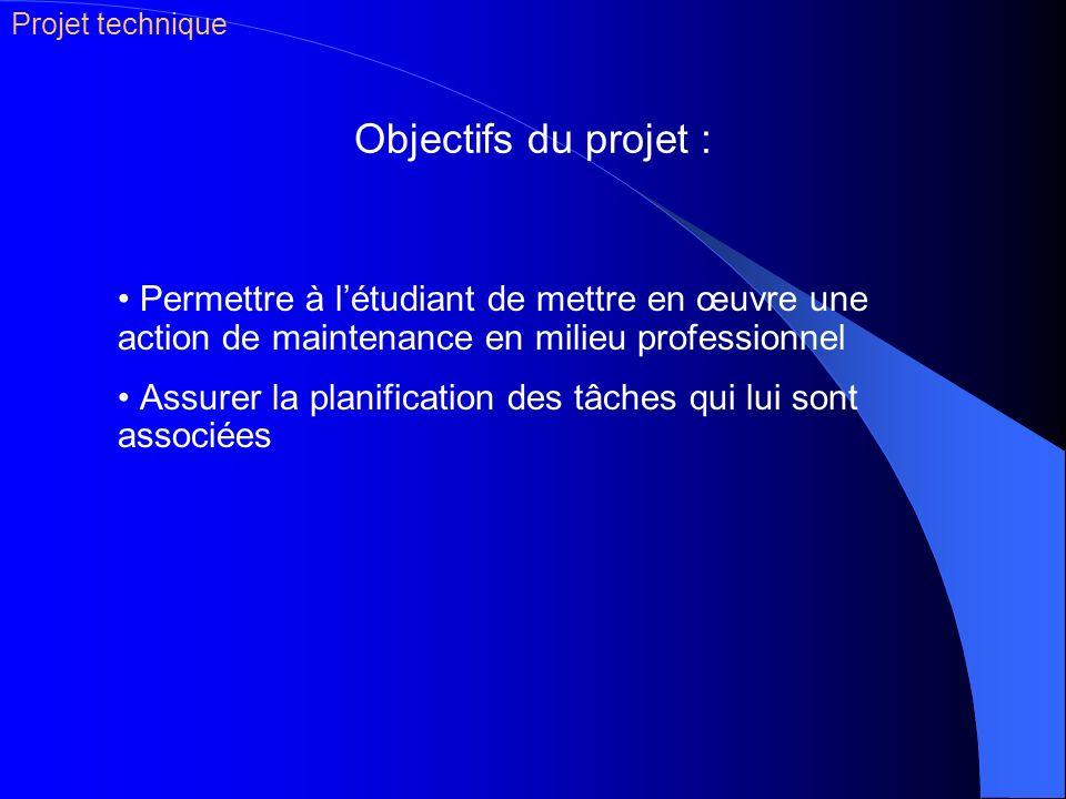 Projet technique Objectifs du projet : Permettre à l'étudiant de mettre en œuvre une action de maintenance en milieu professionnel.