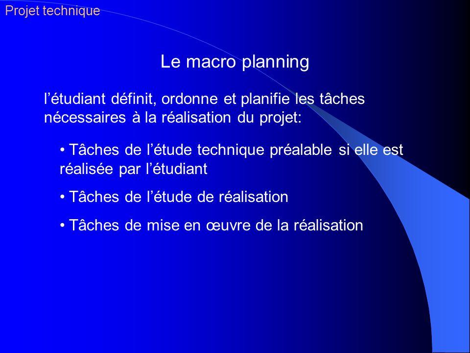 Projet technique Le macro planning. l'étudiant définit, ordonne et planifie les tâches nécessaires à la réalisation du projet: