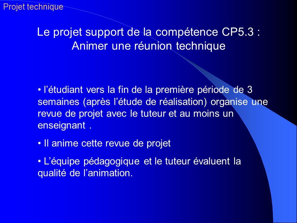 Projet technique Le projet support de la compétence CP5.3 : Animer une réunion technique.
