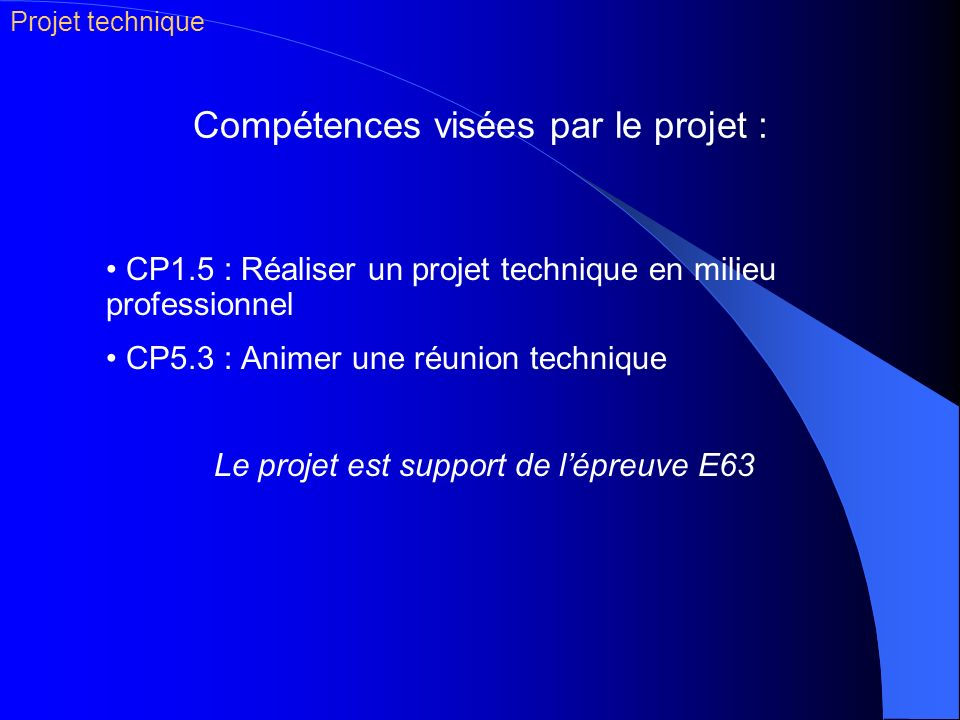 Compétences visées par le projet :