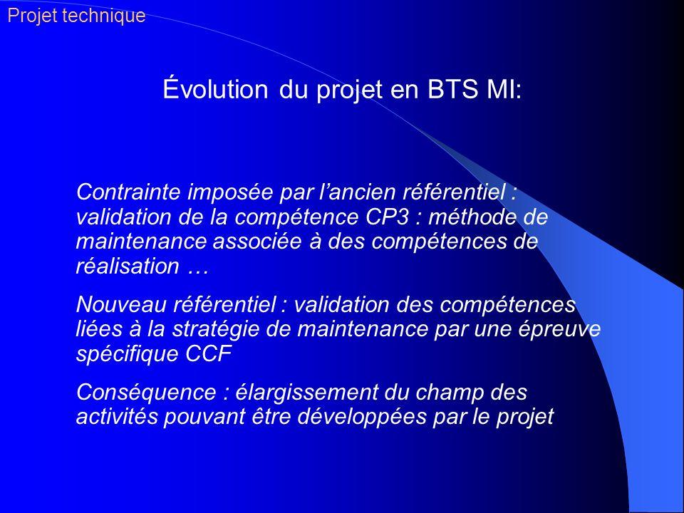 Évolution du projet en BTS MI: