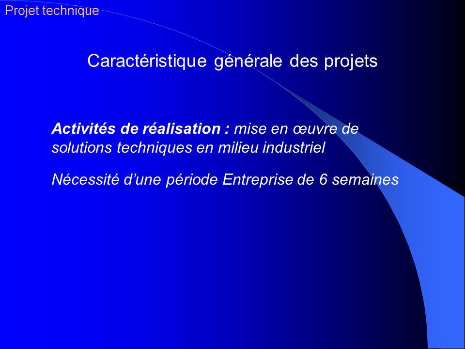 Caractéristique générale des projets