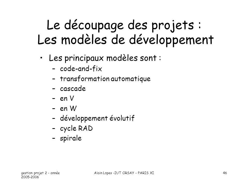 Le découpage des projets : Les modèles de développement