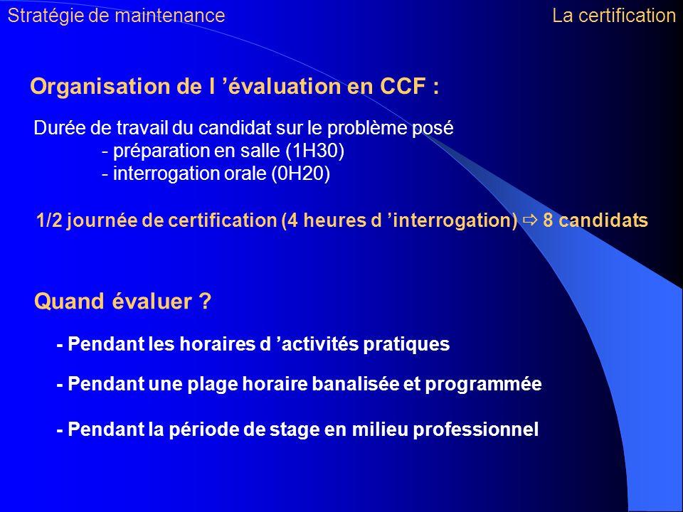 Organisation de l 'évaluation en CCF :