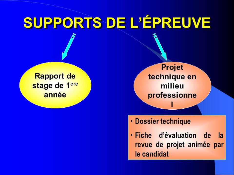 SUPPORTS DE L'ÉPREUVE Projet technique en milieu professionnel