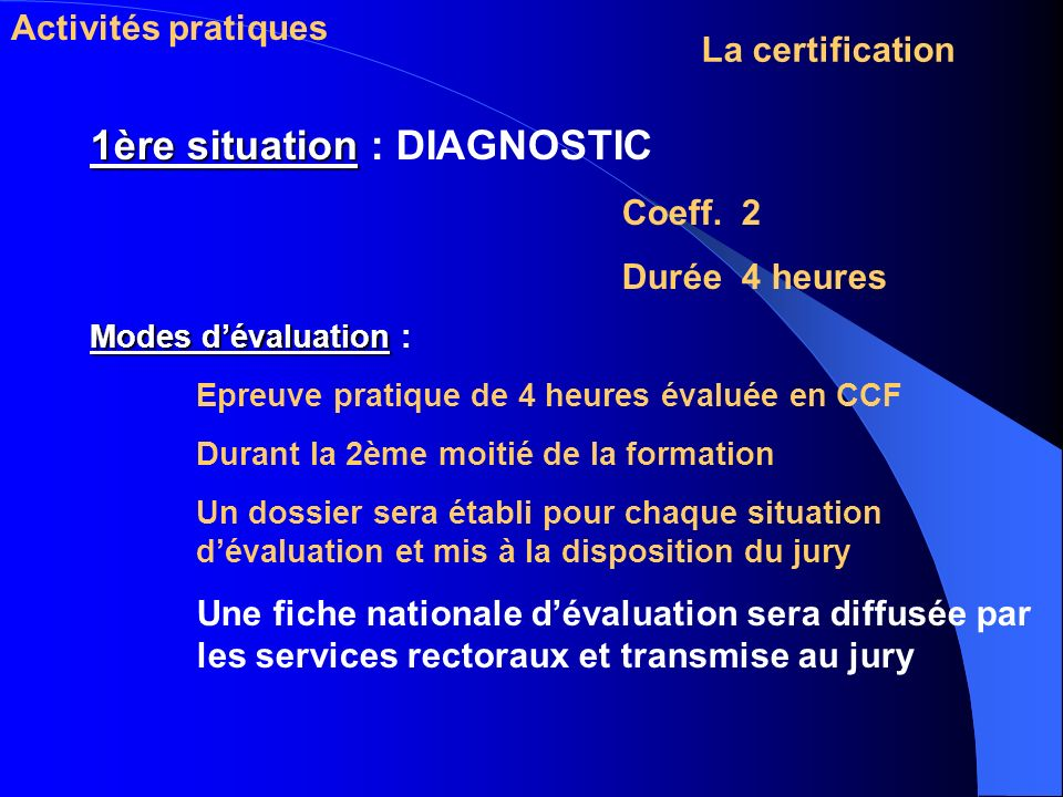 1ère situation : DIAGNOSTIC