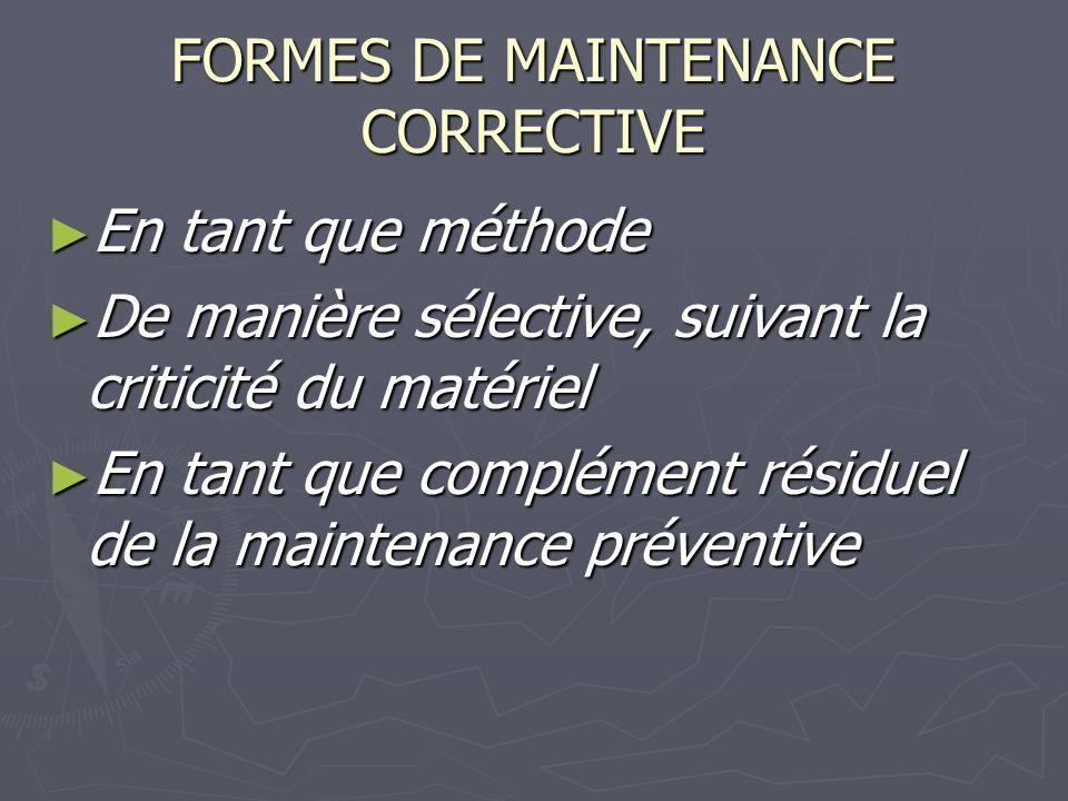 FORMES DE MAINTENANCE CORRECTIVE
