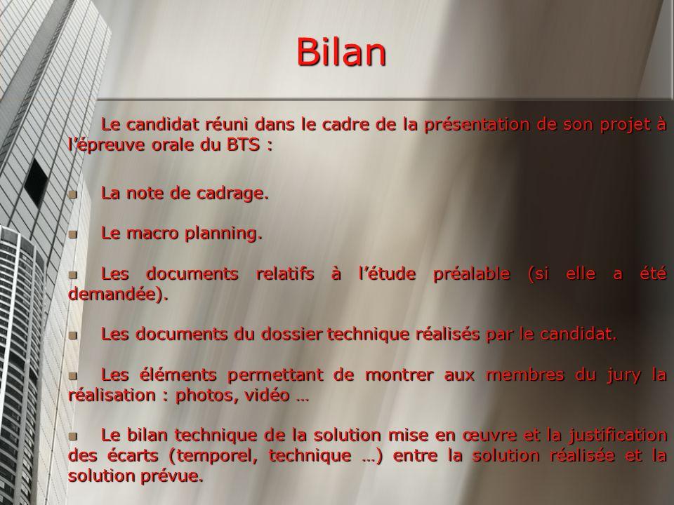 Bilan Le candidat réuni dans le cadre de la présentation de son projet à l'épreuve orale du BTS : La note de cadrage.