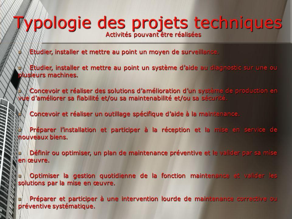 Typologie des projets techniques