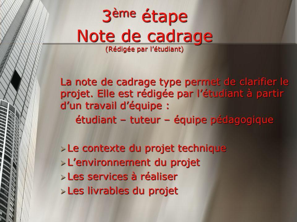 3ème étape Note de cadrage (Rédigée par l'étudiant)